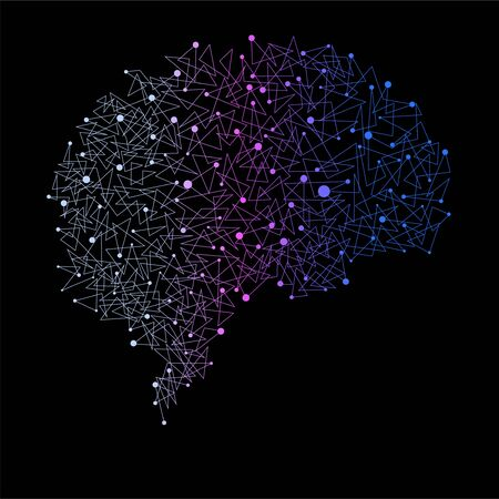 Abstract human brain of dots and lines, polygonal structure