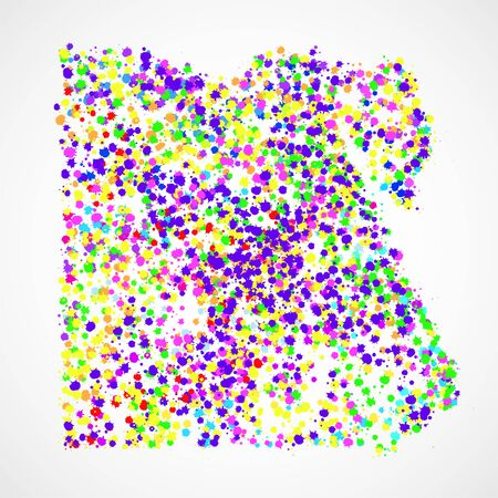 Abstract Egypt map of colorful ink splashes, grunge splatters