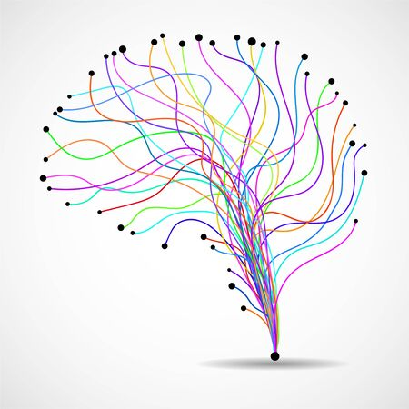 Abstract human brain of colorful lines. Vector illustration 向量圖像