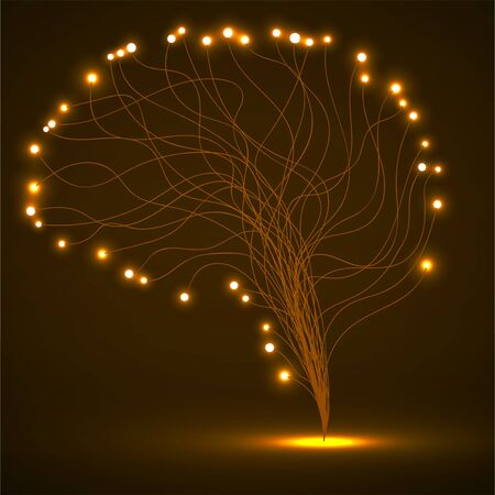 Abstract human brain of lines with glowing dots. Vector illustration