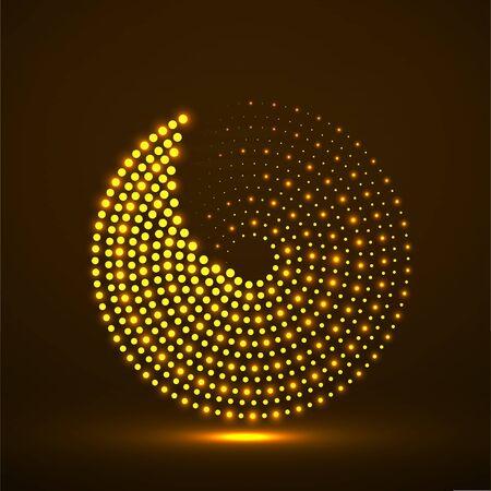 Abstract neon dotted circles. Glowing dots halftone circle.