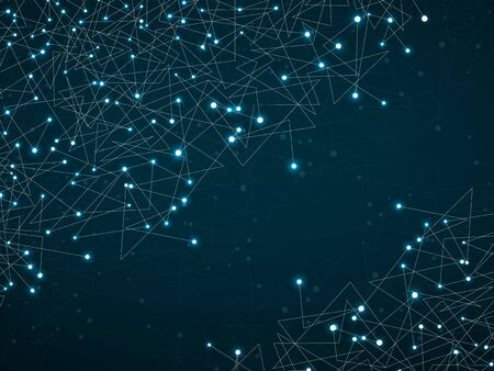 Abstract geometric background with connecting glowing dots and lines. Modern technology concept. Polygonal structure. Futuristic Design