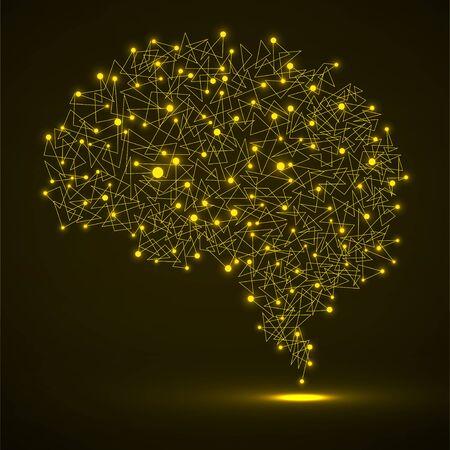 Abstract human brain of glowing dots and lines, polygonal structure, vector illustration eps 10 Vektoros illusztráció