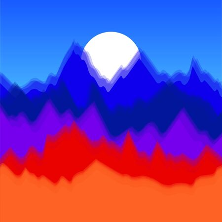 Vector colorful landscape with silhouettes of mountains and sun. Abstract nature background. Vector illustration 矢量图像