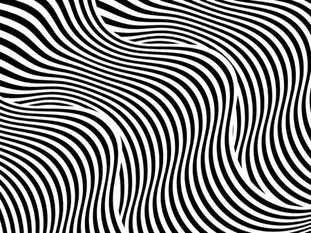 Abstract background with black and white striped, futuristic waves. Geometrical pattern. Vector illustration