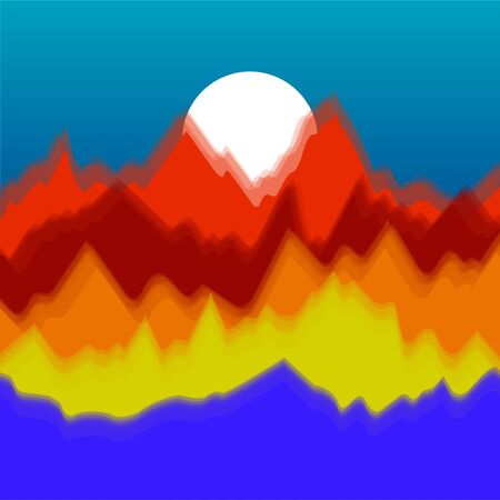 Vector colorful landscape with silhouettes of mountains and sun. Abstract nature background. Vector illustration Ilustração