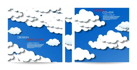 Brochure template with clouds. Magazine, poster, book, presentation, advertising. Abstract vector background. Cover design your text Иллюстрация