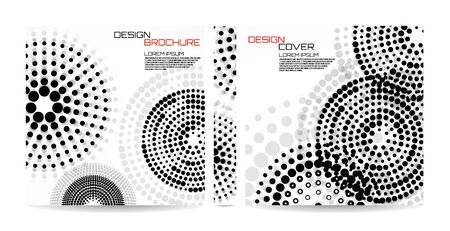 Brochure template with dotted circles. Dots in circular form. Magazine, poster, book, presentation, advertising. Abstract vector background. Cover design your text