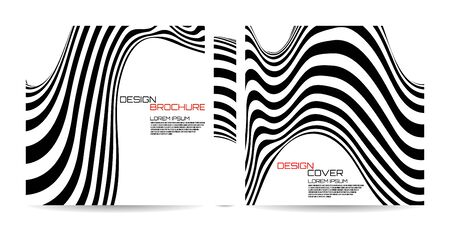 Brochure template wave with black and white striped, futuristic lines. Magazine, poster, book, presentation, advertising. Abstract vector background. Cover design your text