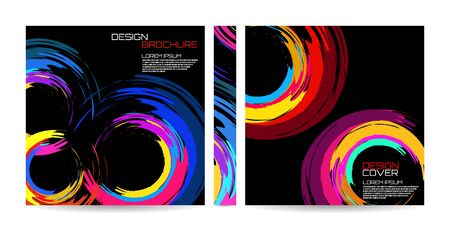 Brochure template of brush stroke colorful circles for your design. Magazine, cover, poster, book, presentation, advertising. Abstract vector background