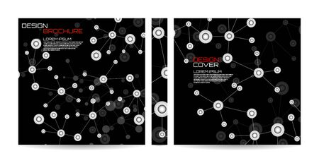 Brochure template with molecule background, connected structure. Dna, atom, neurons. Magazine, poster, book, presentation, advertising. Abstract vector background. Cover design your text