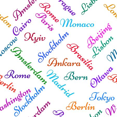 Seamless pattern with the name capitals of the world. Creative background