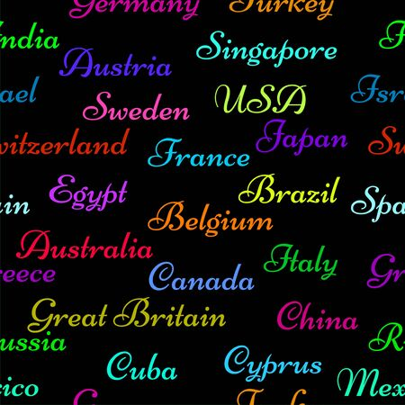 Seamless pattern with name countries of the world. Creative background Иллюстрация