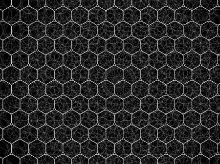 Abstract geometric background with molecular structures. Vector illustration of hexagons pattern