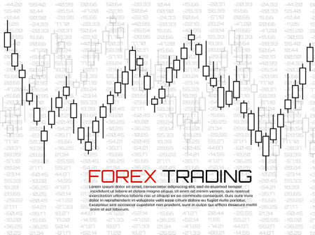 Stock market with japanese candles. Forex trading graphic design concept. Abstract finance background. Vector illustration Foto de archivo - 151152686