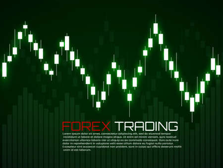 Stock market with glowing japanese candles. Forex trading graphic design concept. Abstract finance background. Vector illustration Foto de archivo - 151152921