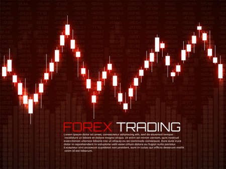 Stock market with glowing japanese candles. Forex trading graphic design concept. Abstract finance background. Vector illustration Foto de archivo - 151152853