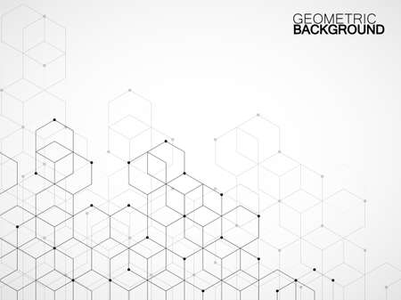 Abstract geometric background with cubes. Geometrical concept with lines and points