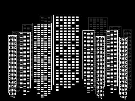 Abstract city of skyscrapers. Silhouette of megacity. Vector background
