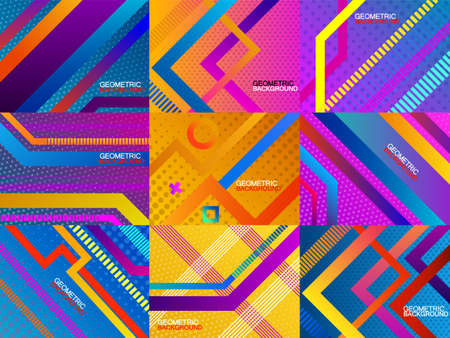 Set of colorful geometric background with stripes. Your modern banner. Vector illustration