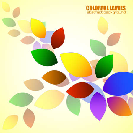 Abstract colorful leaves, nature background. Vector illustration Иллюстрация