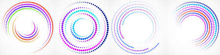 Vector set of colorful dotted background in circle form. Circle dots isolated on the white background