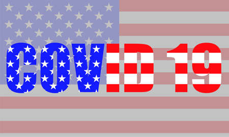 Word COVID 19 of flag usa for your design