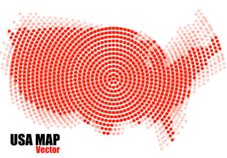 Abstract USA map of radial dots. Vector illustration Иллюстрация