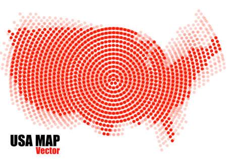 Abstract USA map of radial dots. Vector illustration Illustration