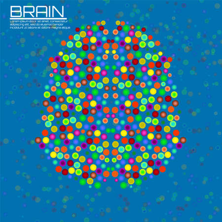 Abstract human brain with colorful circles. Creative concept of your design Illustration