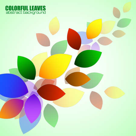 Abstract colorful leaves, nature background. Vector illustration