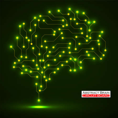 Technological neon brain. Circuit board. Abstract vector background Иллюстрация