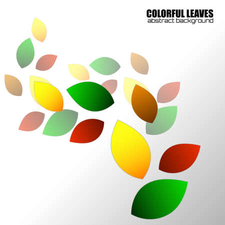 Abstract colorful leaves, nature background. Vector illustration Фото со стока - 152130578