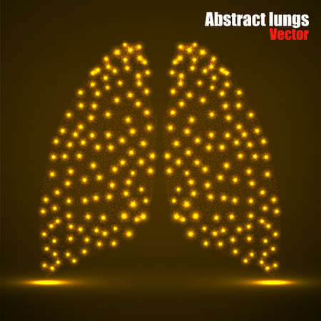 Abstract human lung of glowing dots, neon particles