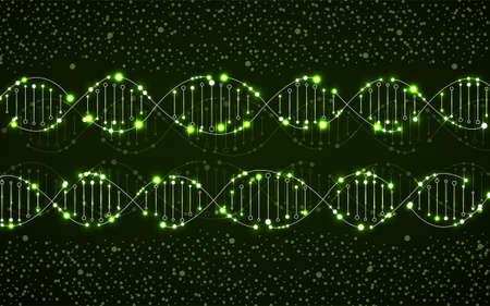Abstract neon spiral of DNA, glowing molecular background and science concept