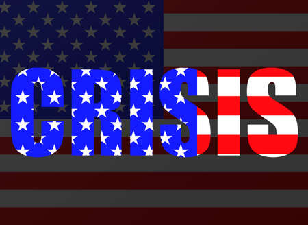 Word CRISIS of flag usa for your design 向量圖像