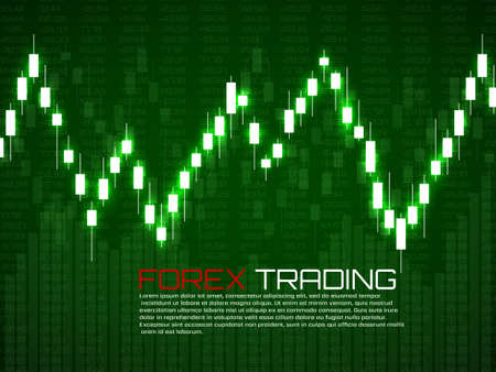 Stock market with glowing japanese candles. Forex trading graphic design concept. Abstract finance background. Vector illustration
