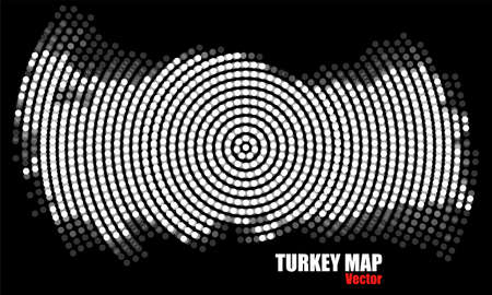 Abstract Turkey map of radial dots, halftone concept