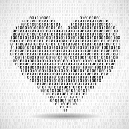 Abstract heart of binary code. Digital love, technology symbol