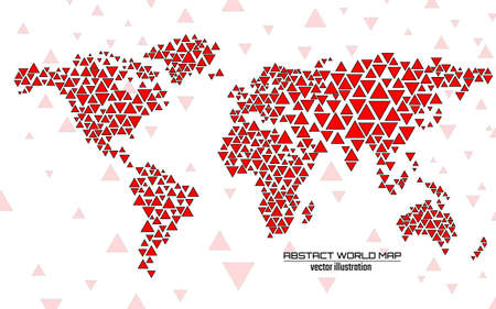 Abstract colorful geometric world map with triangles. Triangular background. Vector Illusztráció