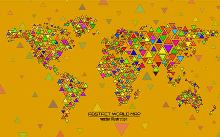 Abstract colorful geometric world map with triangles. Triangular background Illusztráció