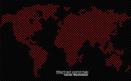 Abstract world map of dots. Dotted map. Vector illustration
