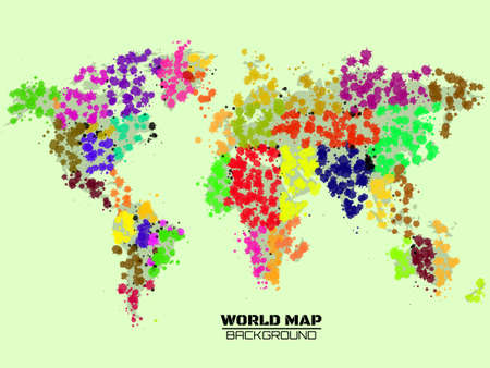 Abstract world map in the form of blots, colorful ink splashes, grunge splatters. Vector illustration