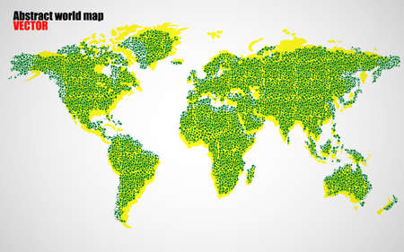 Abstract world map of dots with shadow, vector Ilustração