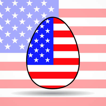 Easter egg with American flag on background USA. Religious holiday 矢量图像