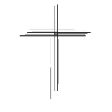 Abstract cross. Christian Symbol. Sign of lines. Vector 矢量图像
