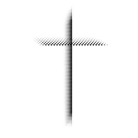 Abstract halftone cross. Christian Symbol. Sign of dots. Vector illustration