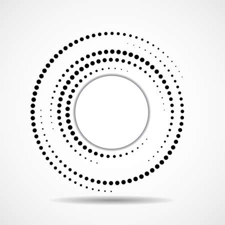 Abstract dotted circles  inside with shadow. Dots in circular form. Halftone effect, design element. Vector