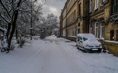 Street in winter 免版税图像