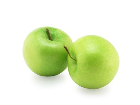 Two green apples close up, it is isolated on a white background Stock Photo - 6494229